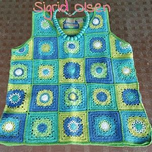 Hand Knit Sigrid Olsen Linen Cotton Top!